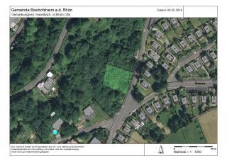 Lageplan mit eingezeichnetem Bauplatz